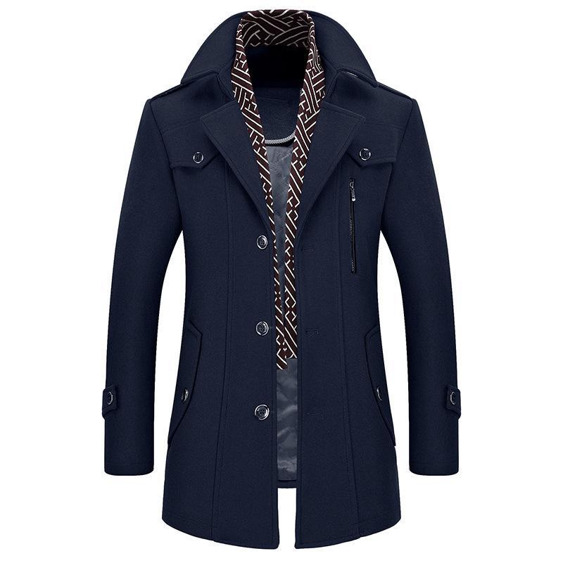 dd2dd383872 2019 Winter Coat Men Plus Size Wool Jacket Thick Autumn Mens Coats Woolen  Medium Long Jackets Male Overcoat Casaco Masculino XD555 From Guchen3