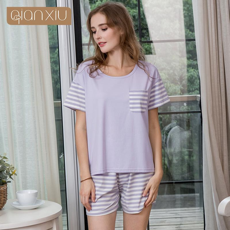 2019 2018 Summer Female Casual Striped Pajama Sets Ladies Cotton Sleepwear  Suit Women Short Sleeve O Neck Collar T Shirt   Shorts XXL From Jasm 4ac2efa2c