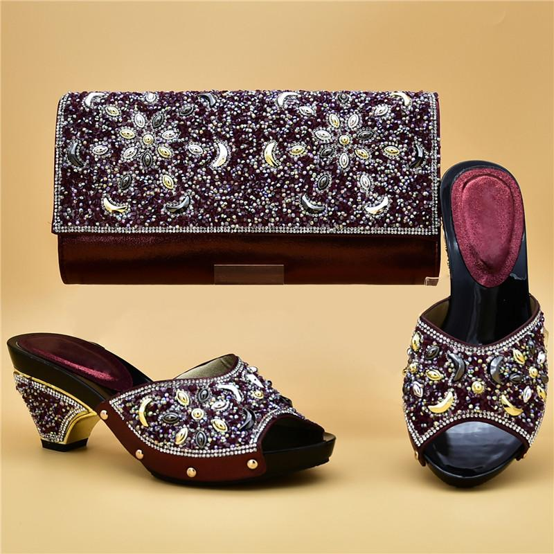 b07f4858944a Italian Shoes with Matching Bags Set Decorated with Rhinestone ...