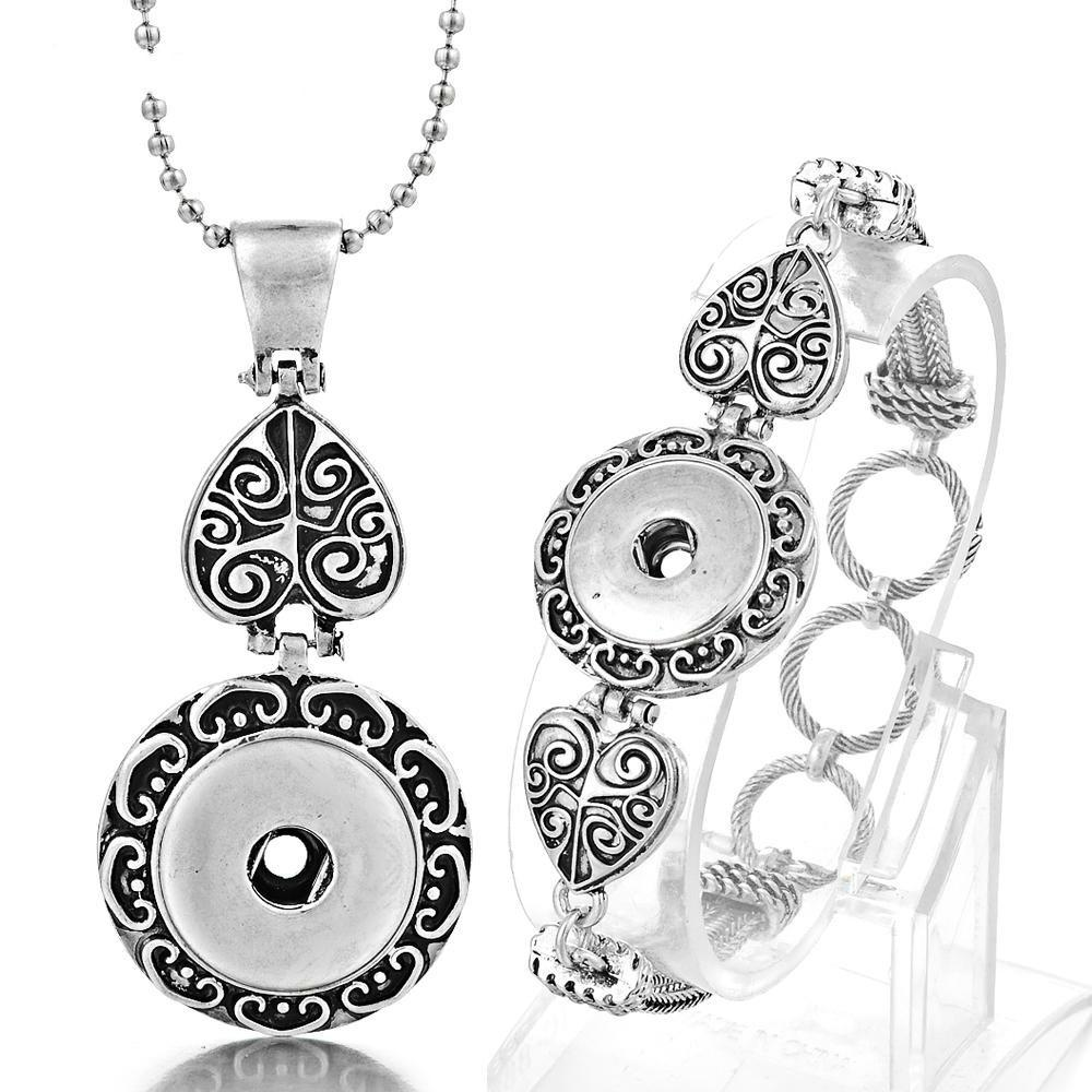 NOOSA Ginger Snap Jewelry Set Silver Plated Interchangeable 18mm Button Pendants Necklace and Bracelet VOCHENG