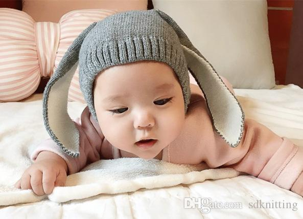 Wholesale Fashion Baby Hats Rabbit Ear Crochet Hat Winter Newborn Children Knitted Cap pink gray black Beannie Hat Photography Props A041