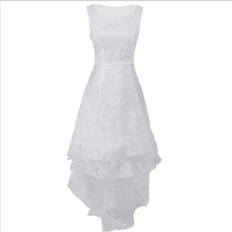 Mulheres bonitas branco voile dress girl senhoras elegantes sem mangas hi-lo vestidos de três camadas grande balanço das mulheres vestidos de roupas