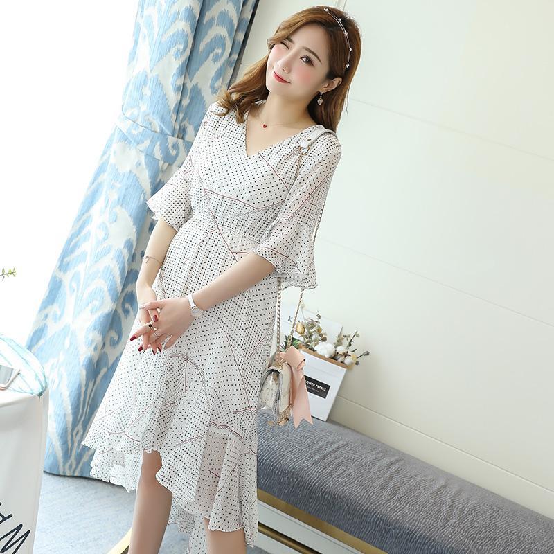 2e7eb649a Compre Vestido De Maternidad De Impresión De Lunares Con Cuello En V Ropa  De Moda Coreana De Verano Para Mujeres Embarazadas Ropa De Embarazo  Elegante A ...
