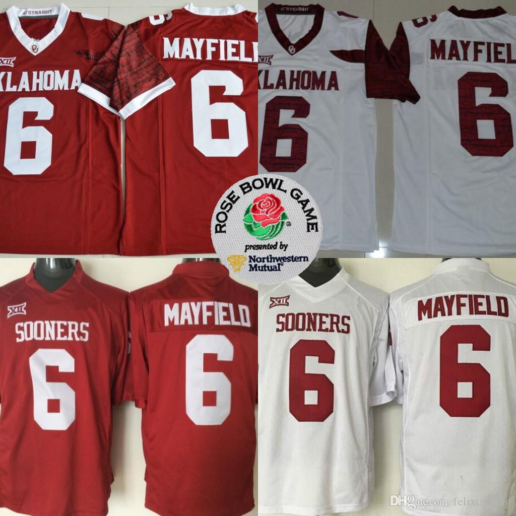 8fd97d51957 2019 Oklahoma Sooners 6 Baker Mayfield Red White Limited Stitched College  Football Jerseys Red White Color Stitched Men Football Jersey From  Felixtrading, ...