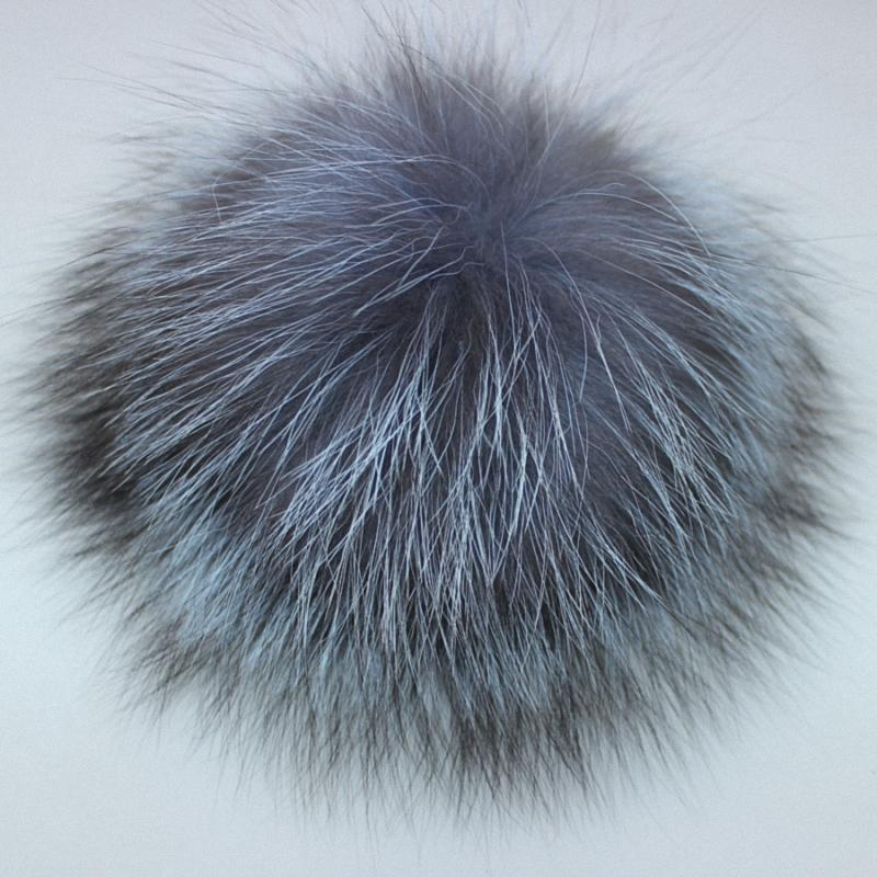 10pcs/lot Wholesale Price DIY 8-14cm Silver Fox Fur Pompom Fur Ball For Women Kids Winter Skullies Beanies Hat Keychain TKF007