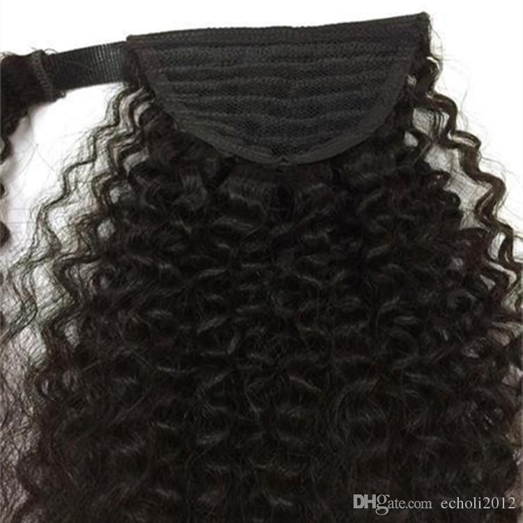 Siyah Kadınlar Için 160g Afro Kinky Kıvırcık İnsan Saç At Kuyruğu Perulu Bakire Saç İpli At Kuyruğu Saç Uzantıları 5 Renkler