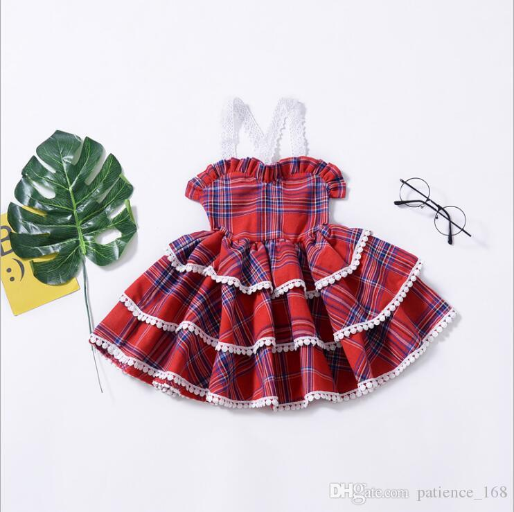 57b10650c07c0 plaid dress 2018 summer 2 color Hot selling INS NEW arrival Girls Kids  sling Lace princess cake dress girls Lady temperament plaid dress