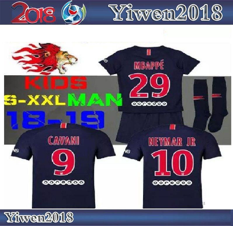 247414e06 2019 18 19 Psg Neymar Jr Kids Soccer Jersey Home Mbappe Maillot De Foot  2018 2019 CAVANI DI MARIA PASTORE Survetement Child Men Football Shirts  From ...