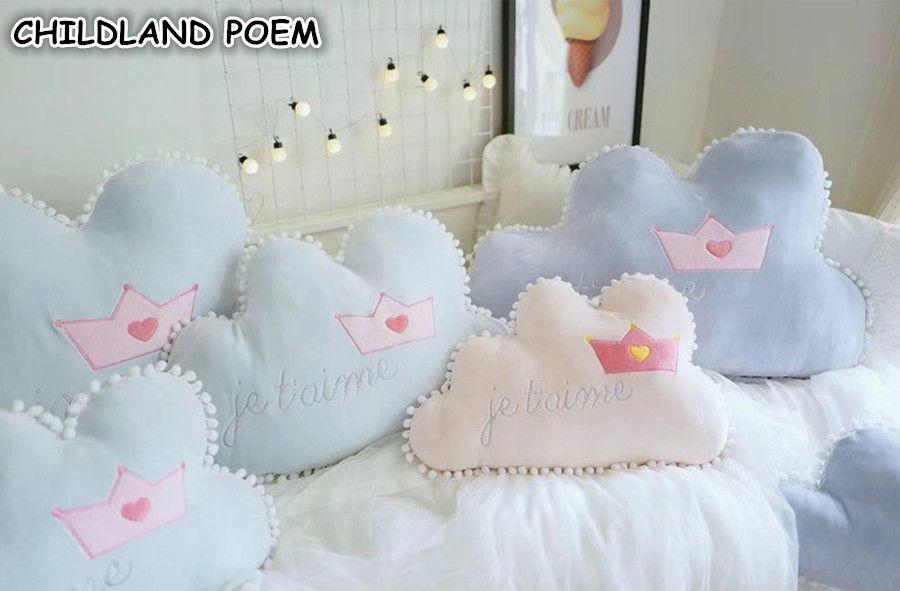 Baby Kissen Dekorieren Cloud Crown Kinder Kinderzimmer Dekoration Baby Room Decor 55 35 Cm Nette Cirb Bumper Puppe Spielzeug Sofakissen