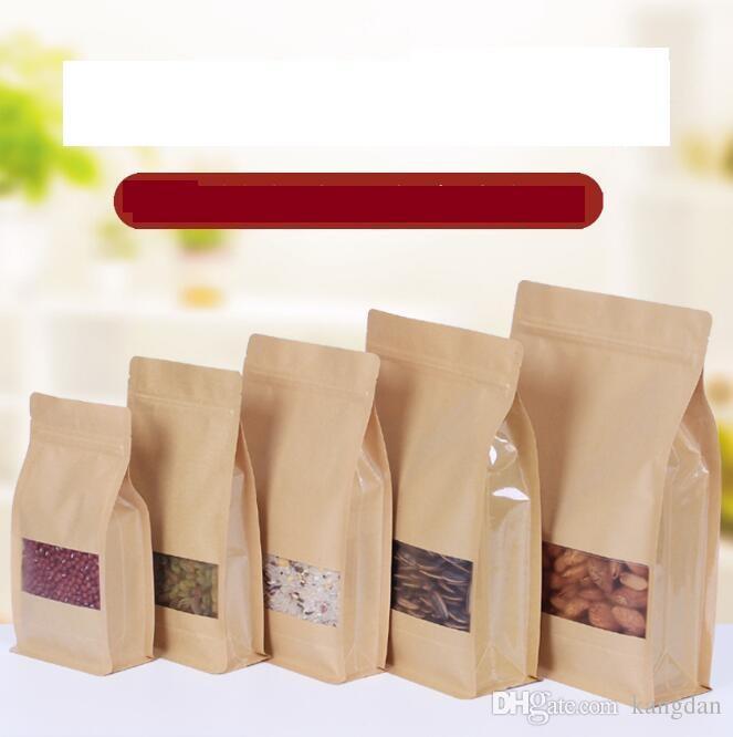 givré sac ouvert papier kraft grande fenêtre sacs d'emballage alimentaire de sécurité de capacité, ELOIGNEZ sac séchés d'emballage de fruits en sacs à valve fermeture éclair
