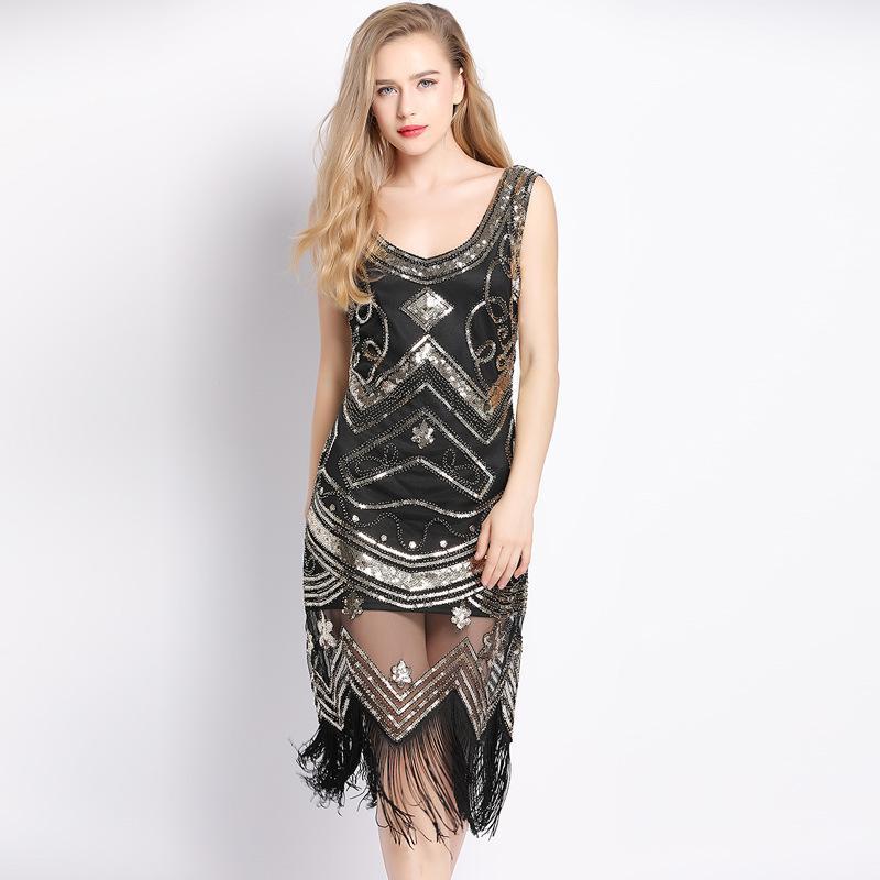 Compre Vestido De Flecos Con Estampado Geométrico Para Mujeres ... beb77c354edc