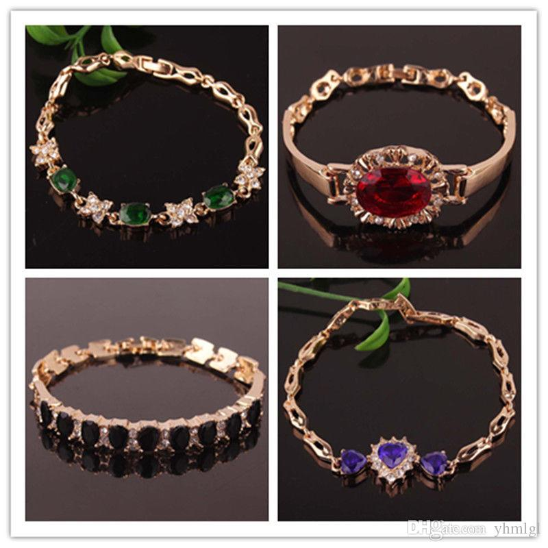 Fashion Women 18K Gold Plated Rhinestone Drop Cut Bangle & Bracelet New
