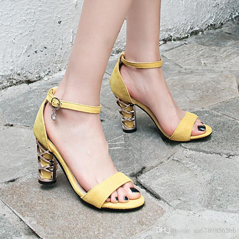 66c1057a4f Compre Moda Feminina Verão Bloco Do Dedo Do Pé Aberto Tira No Tornozelo  Alça Sandálias Senhoras Casuais Sapatos De Vestido De Aa67898565bb, ...