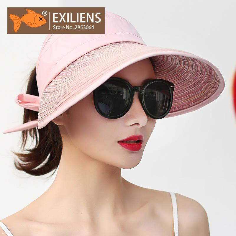 EXILIENS 2018 Summer Sun Hats For Women Beach Straw Hat Ladies Wide Brim  Half Empty Bowknot Sunscreen Girls Travel Shade 050802 Crazy Hats Fishing  Hat From ... b409d68290d7