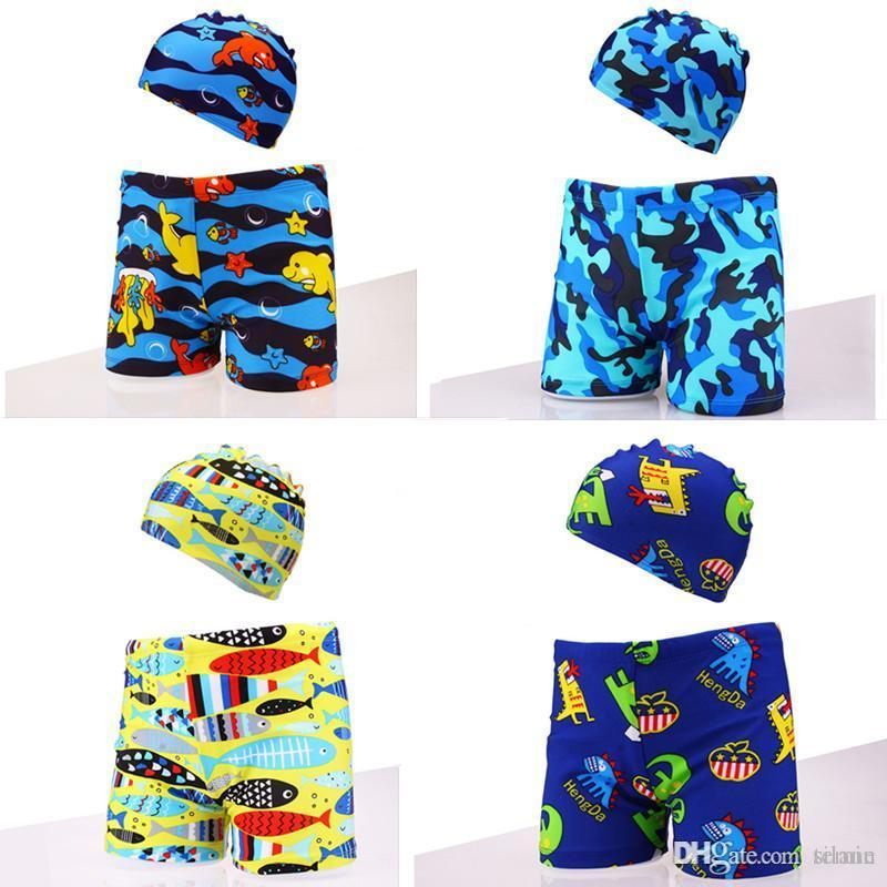 d09f45ebf9 Swimming Trunks+swim Caps for Kids Swimwear Plus Size XXL Toddler ...
