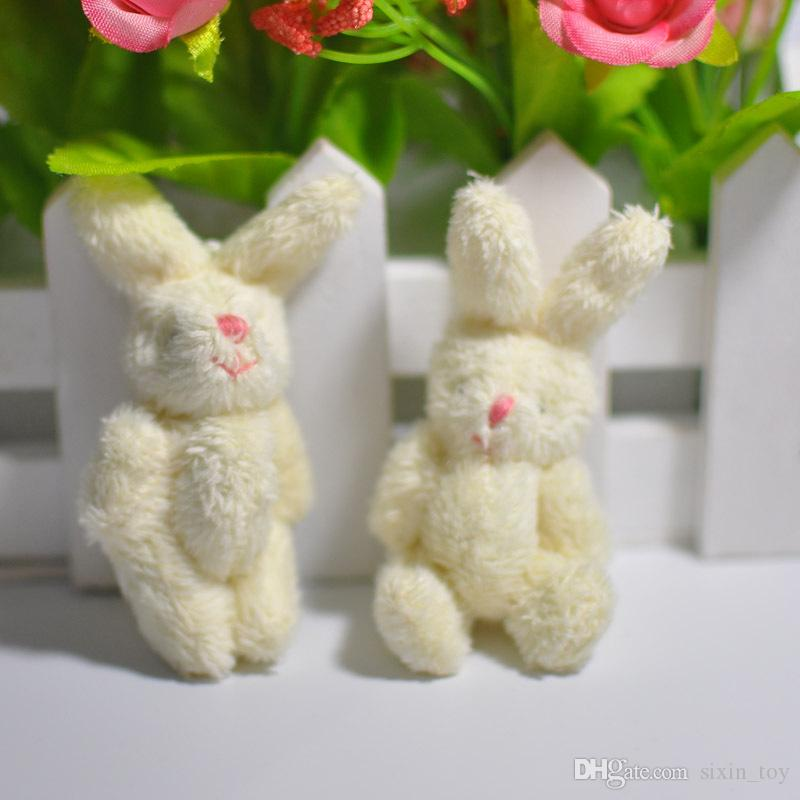Hot Sale 6cm mini Joint Rabbit Plush Stuffed Wedding BOX toy doll Garment & Hair Accessories decor doll
