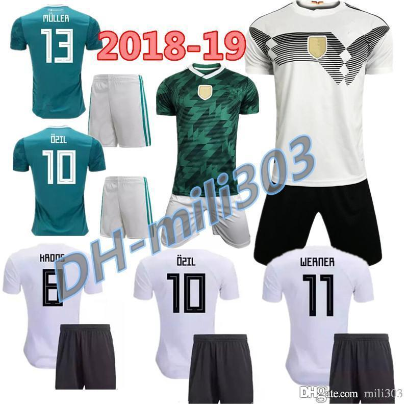 27ace6d42 2018 2019 World Cup Germany Home Soccer Jersey Kits 18 19 MULLER ...