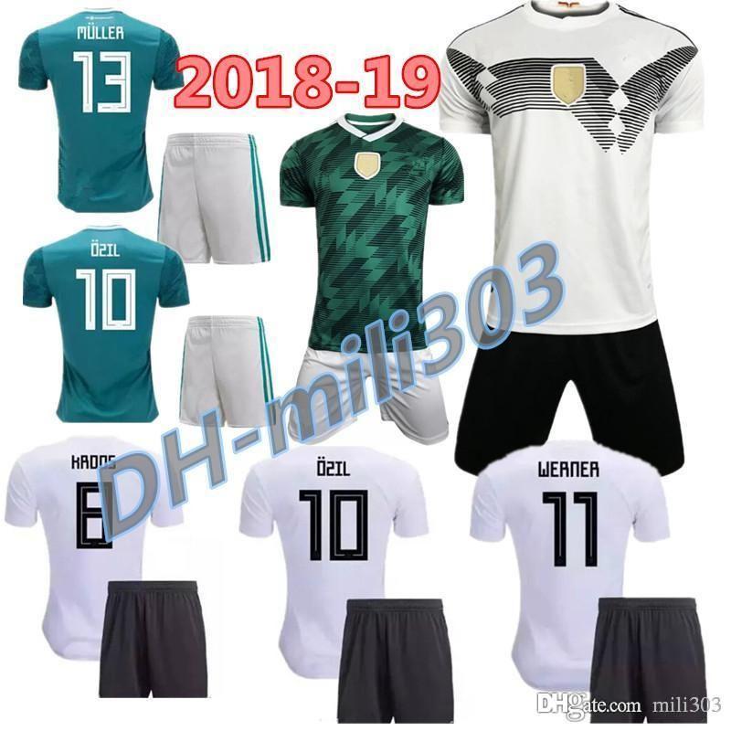 ccf9f86c4 2018 2019 World Cup Germany Home Soccer Jersey Kits 18 19 MULLER OZIL REUS  WERNER GORETZKA KROOS Germany Away Football Shirts World Cup Germany Home  Away ...