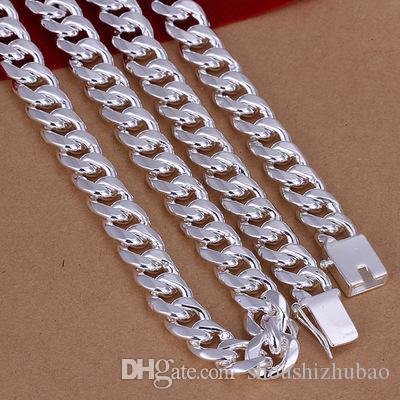 Fresca caliente de 10 mm de la cadena del collar de plata de los hombres de 20/24 pulgadas Longitud de calidad superior clásico masculino Jewellry plaza de cierre CHN011
