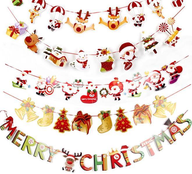 Buon Natale 883.Christmas Paper Banner Flag Buon Natale Babbo Natale Pupazzo Di Neve Alce Regalo Bandiere Xmas Decorazione Multi Disegni