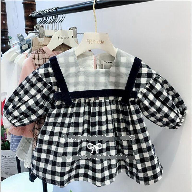 7459d1475 Ins Girls Dresses Plaid A Line Dress Long Sleeve Knee Length Skirts ...
