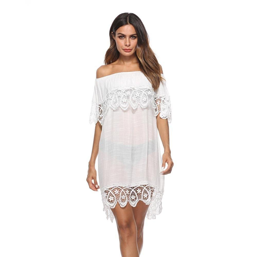 7f12f057664 Women Sexy Off Shoulder Dress Lace Hollow Out Summer Beach White Dress  Online with  32.64 Piece on Fafachai09 s Store