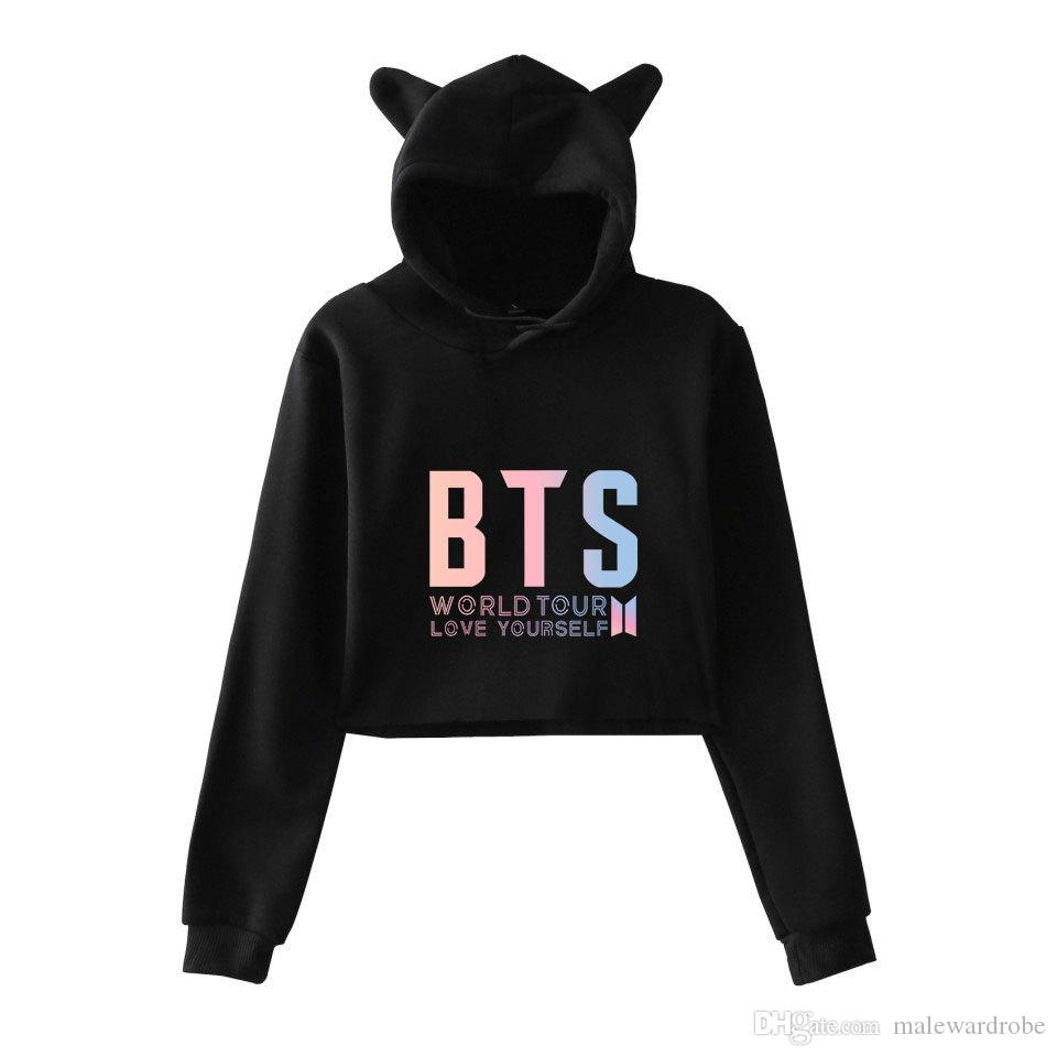 48f6f2d07 BTS World Tour Women Short Hoodies Cute Cat Style Design Pullovers Tshirts  Spring Autumn Clothes Designer T Shirts Funny T Shirt Companies From  Malewardrobe ...