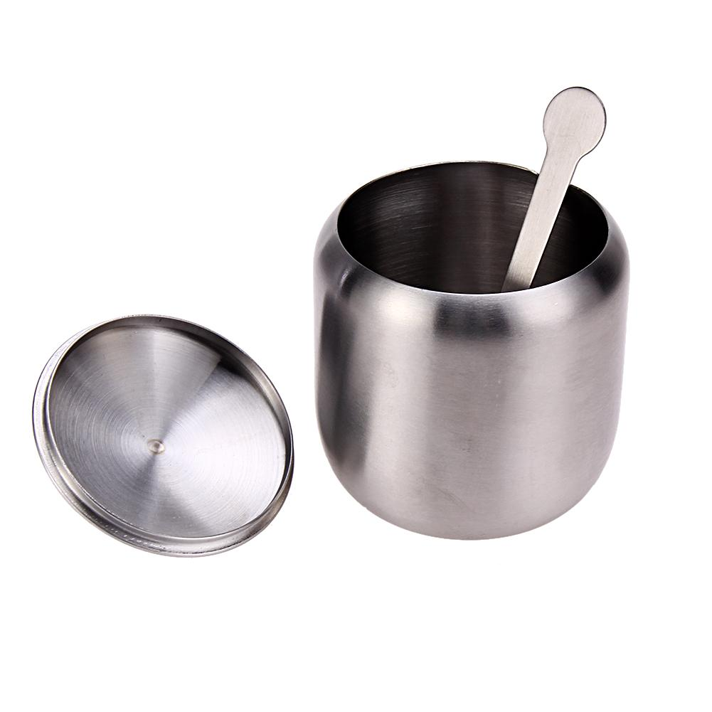 350ML New Stainless Steel Coffee Sugar Bowl Sugar Pot With Spoon Cup Cover Drum Shape Sugar Cup Drinkware Kitchen Accessories