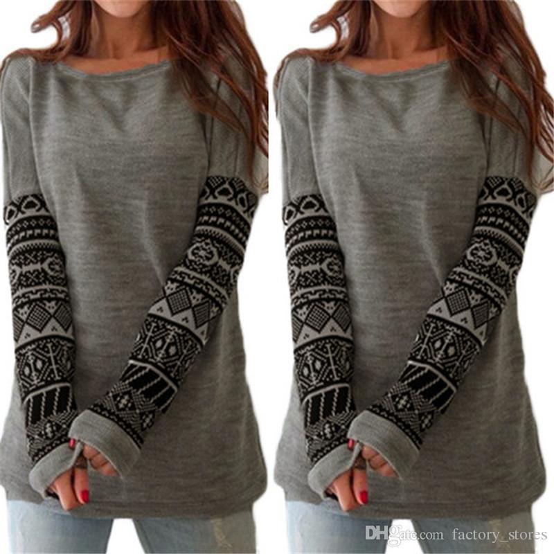 2018 Women Fashion Spring Autumn Long Sleeve Primer Shirt Round Neck Printing Casual Loose Top Tees T Shirt S-3xl Plus Size