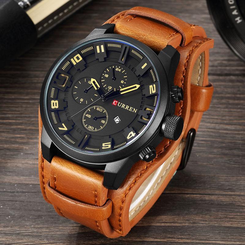 199995d03d20 Compre Marca De Lujo CURREN Mens Relojes Militares Deportes Hombres Reloj  Fecha De Cuarzo Reloj De Pulsera De Cuero Casual Relogio Masculino 8225 A   35.24 ...