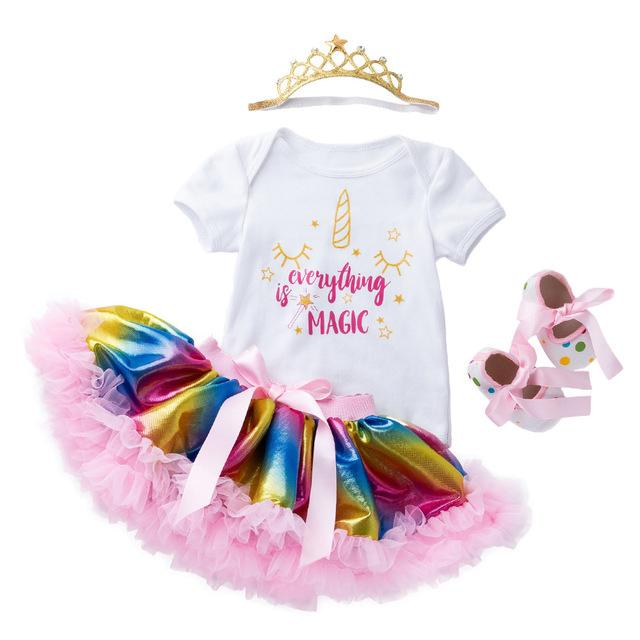 2019 Baby Girl Clothing Set Rainbow Skirts Romper Headband Shoes Summer Style Cotton Unicorn Body Suit Infant Birthday Gifts 0 24 Months From Shunhuico