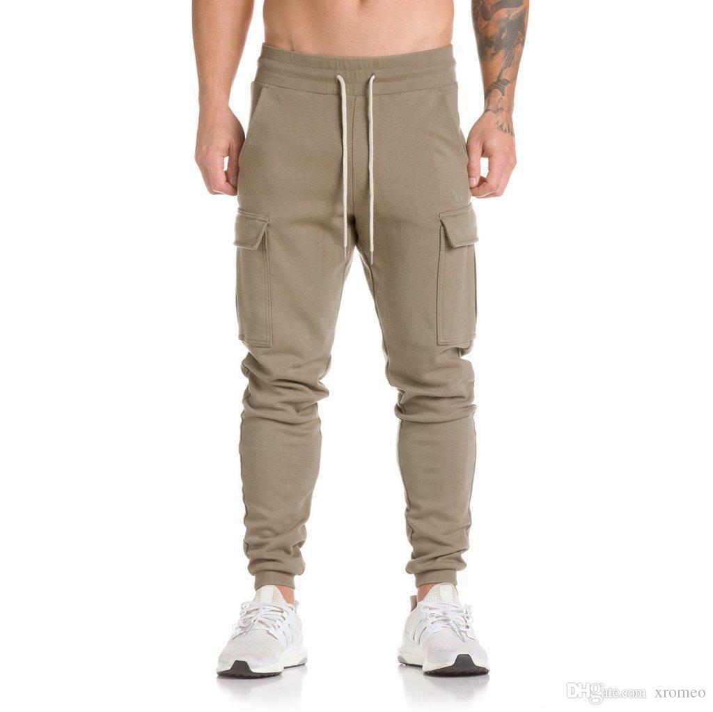 Pantaloni mimetici mimetici da uomo Pantaloni sportivi a tinta unita casual Pantaloni da jogging grandi tasche Pantaloni sportivi con coulisse e pantaloni mimetici allentati YB