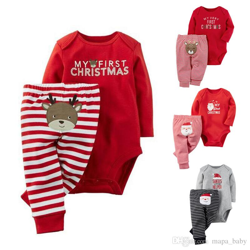9b59724b6ef9 2019 Baby Rompers Christmas Letter Printed Newborn Babies Striped Outfit  Santa Claus Clothes PP Pants Kids Toddler Christmas Party Jumpsuit From  Mapa baby