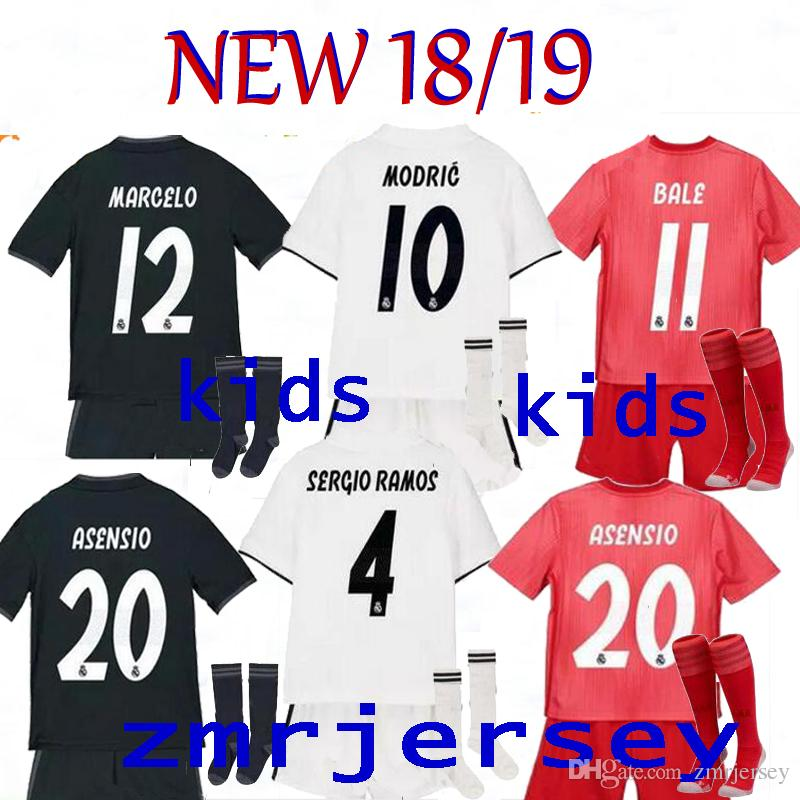 022dc01d7 2019 2019 Kids Kit Real Madrid Football Jersey 18 19 Home Away Third Boy Soccer  Jerseys ISCO ASENSIO BALE KROOS MODRIC Child 3rd Red Soccer Jerse From ...