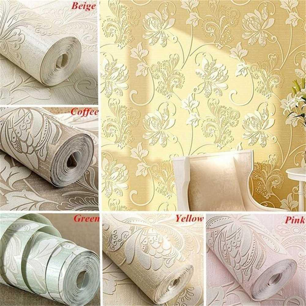 Nonwoven Wallpaper Roll Modern Simple Style Luxury 3d Flower Pattern Wallpaper Self Adhesive Desktop Diy Wall Sticker Home Decor