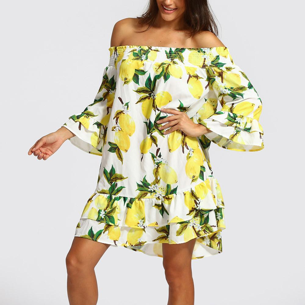 FeiTong Ruffle off shoulder short dress summer 2018 lemon print backless yellow dress women High waist casual beach dress female
