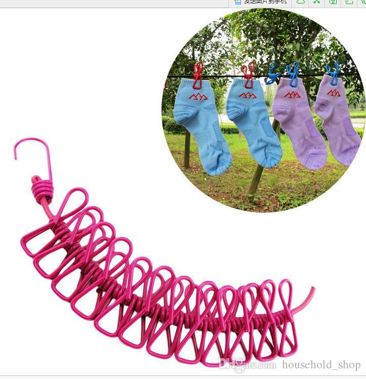 Asmak giysi Klipler Dize Ile Taşınabilir Clothesline Klip Teleskopik rüzgar geçirmez elastik Halat Ile 12 Robe Klip Hooks Açık Kamp 185 cm