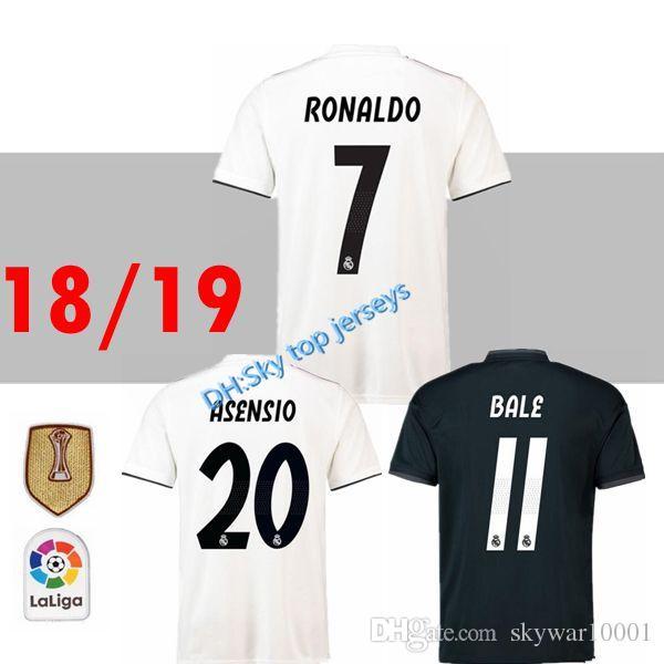 efa93038c3e 18 19 Real Madrid Asensio SOCCER JERSEYS 2018 RONALDO KROOS AWAY ...