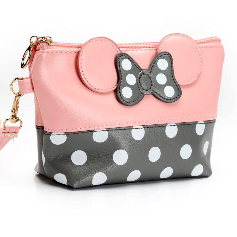 여행 메이크업 주최자 및 화장실 사용을위한 뜨거운 인기 마우스 귀여운 클러치 백 bowknot 화장품 가방 화장품 가방