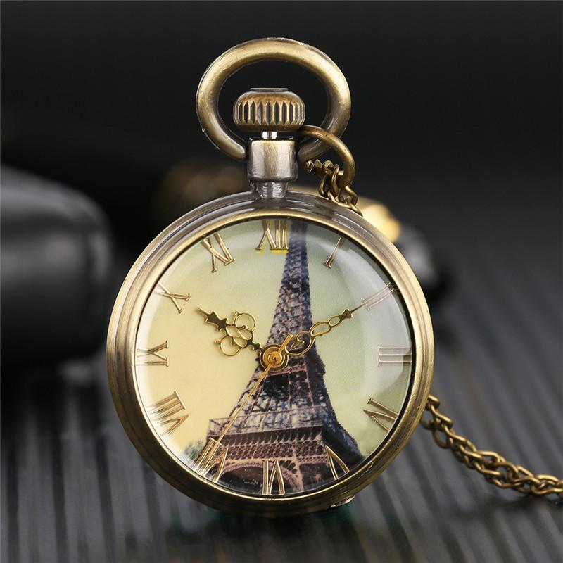New Retro Bronze Paris Eiffel Tower Dial Quartz Fob Watch with Necklace Women Lady Pendant Clock Best Gift for Girlfriends PW364