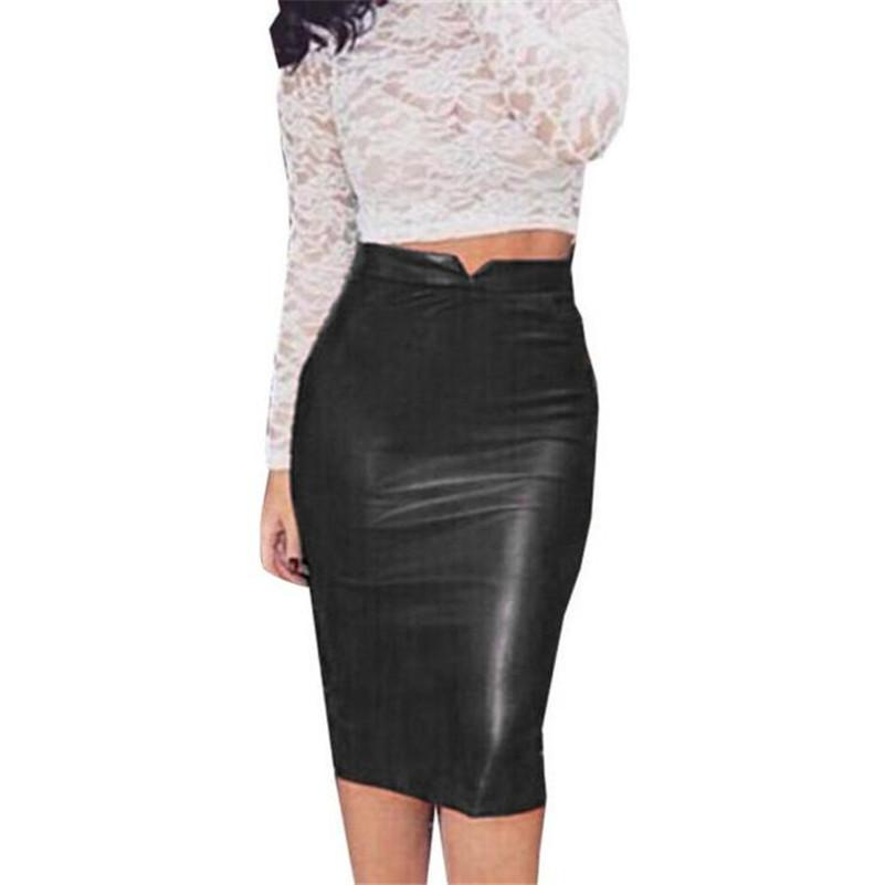 America and European Style Women Pu Leather Skirt Knee Length High Waist Slim Party Pencil Skirt Vintage Bodycon OL Midi saia
