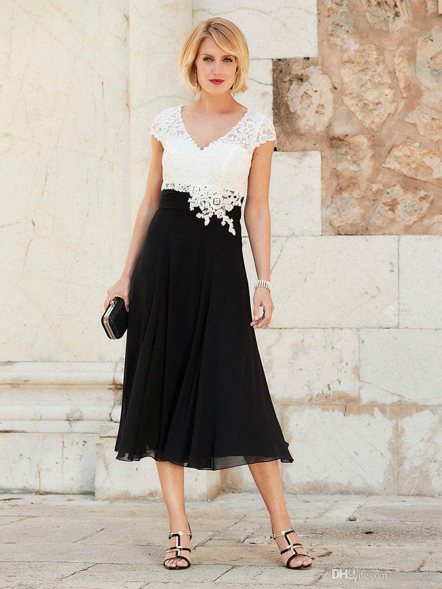2018 Barato elegante madre de la novia vestidos con cuello en V de encaje blanco perlas apliques tapa mangas longitud del té más el tamaño de la boda vestidos de invitados