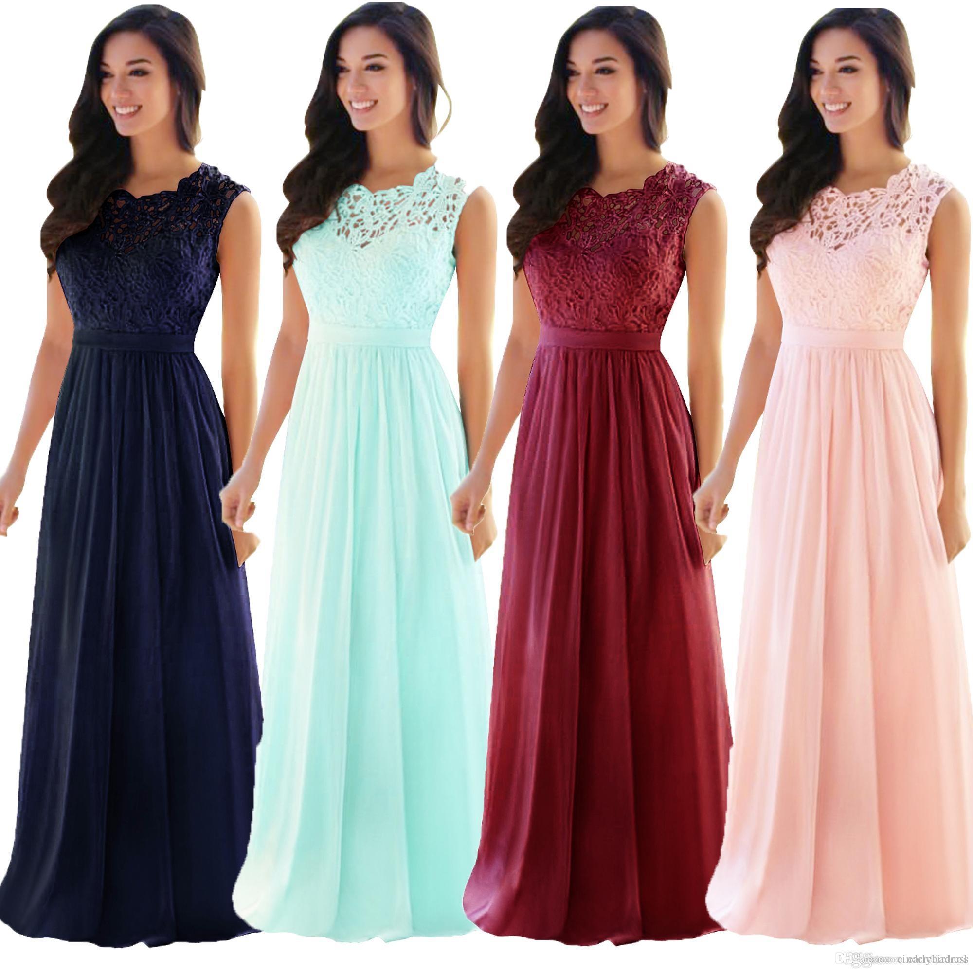 Discount Designer Wedding Gowns: 2019 Cheap Designer Lace Bridesmaid Dresses Jewel