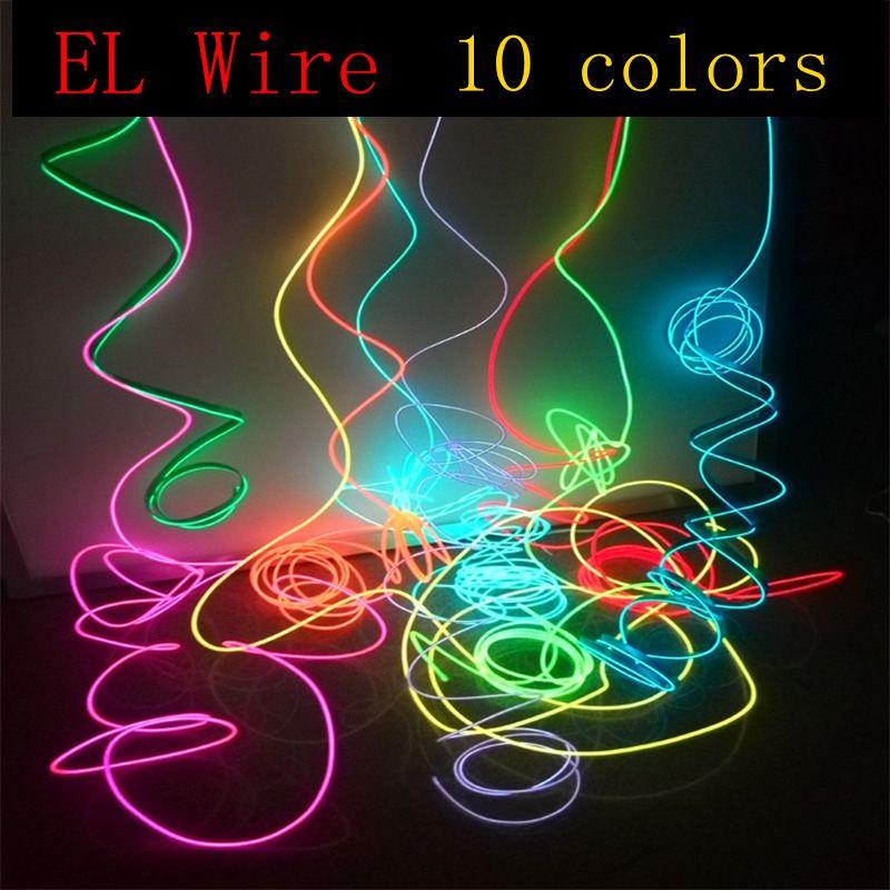 1-10 메터 EL 와이어 네온 빛 댄스 파티 장식 참신 빛 네온 LED 램프 유연한 로프 튜브 방수 LED 스트립 문자열 빛