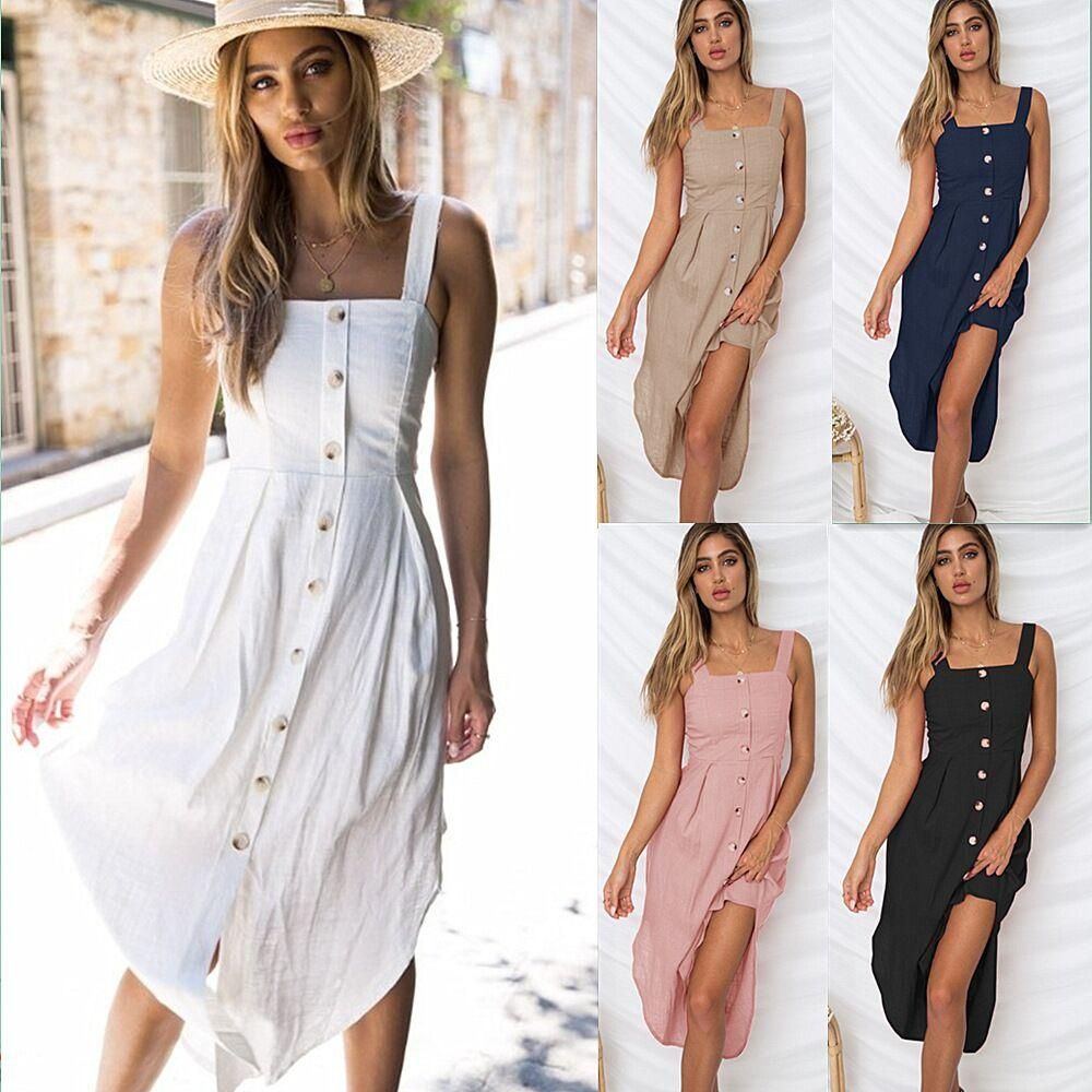 71ba868b632 2018 Women s Fashion Summer sleeveless square collar Button Down Swing Midi  Dress Beach Summer Dress