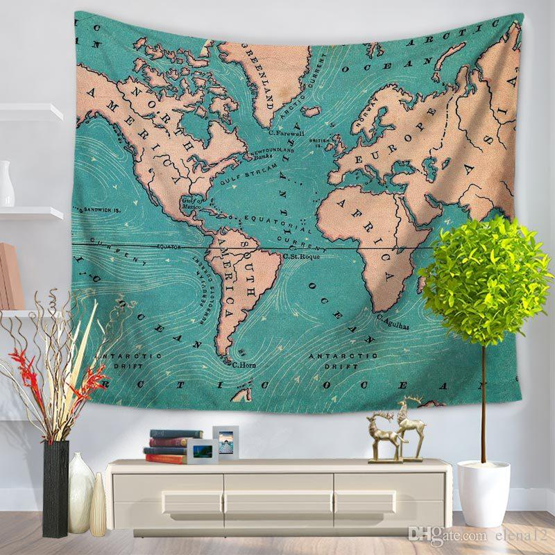 World Map Tapestry Flower Wall Hanging Punk Cross Pitctures Wall
