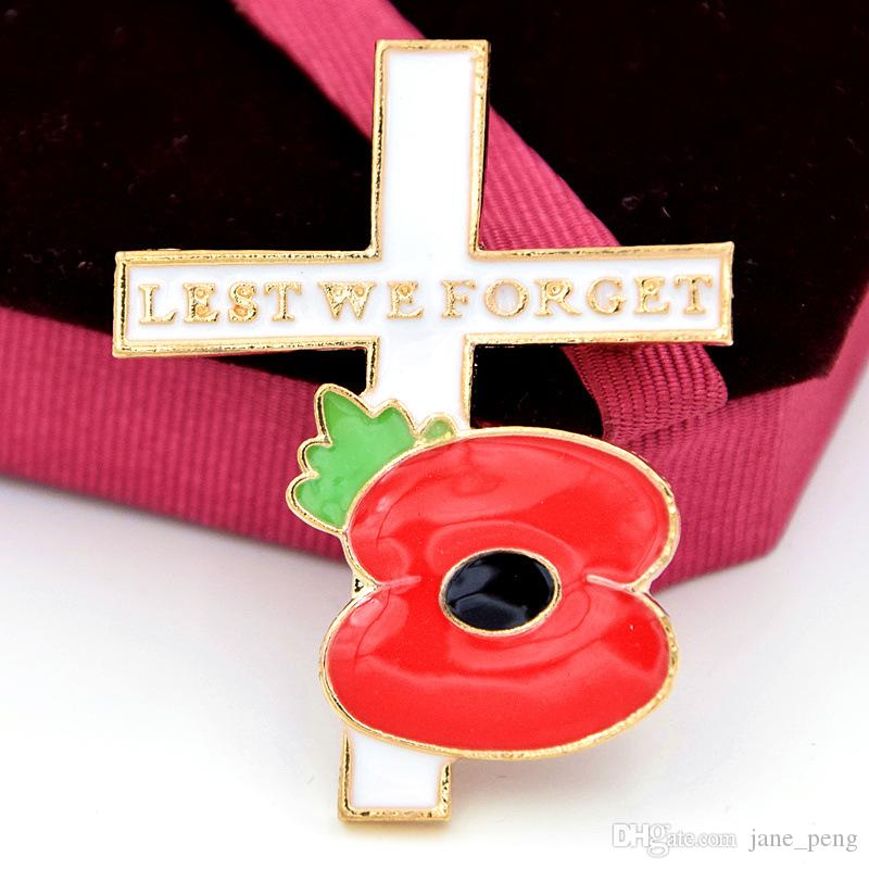 Lest We Forget Red Poppy Flower Cross Brooches Pin For Women Men Suit Shirt  Broach Lapel Pin Badge Enamel Breastpin UK Style Remembrance Day