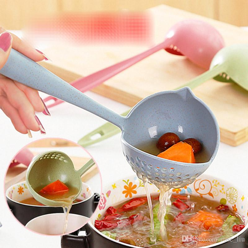 New Fashion Cartoon Spoon colander Two-in-one Ladle Large Soup Spoon colander Long Handle Scoop Kitchen Utensils Cooking Tools B