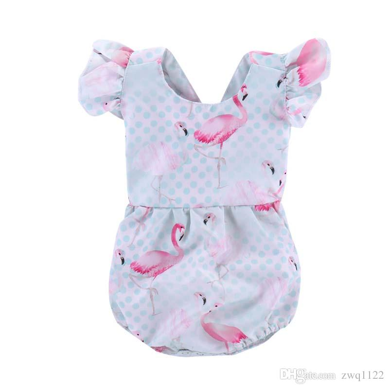 dd5ba5a0f21 2019 2018 Baby Girls Flamingo Fly Sleeve Rompers INS Fashion Toddler Kids  Flamingos Printed Romper Summer Infant Sleevless Jumpsuits From Zwq1122