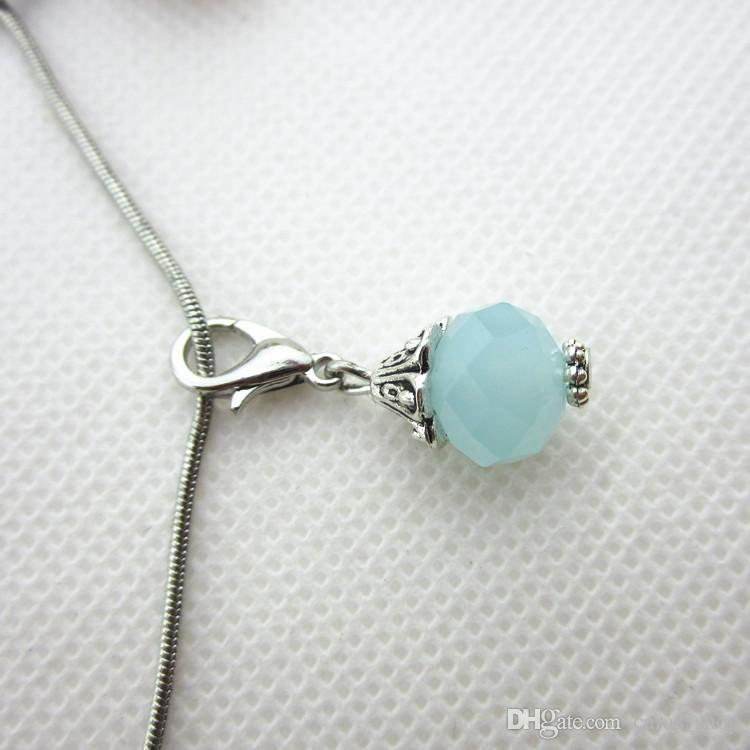 Hot selling 100/pcs wathet blue month birthstone crystal dangle charms lobster clasp charms for glass floating lockets
